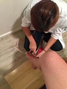 Medições nas pernas e pés antes da sessão
