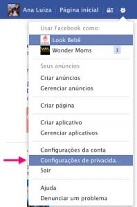 Alterar configurações de privacidade no facebook