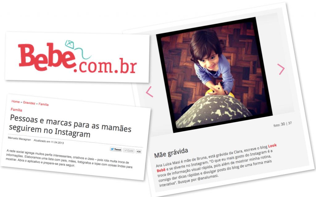 Matéria no site Bebe.com.br sobre os perfis interessantes de se seguir