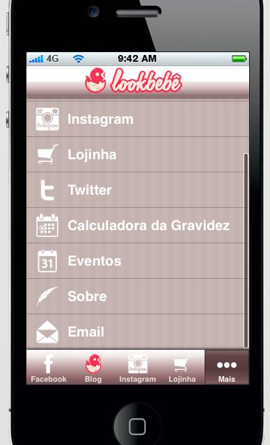 aplicativo de blog e loja virtual lookbebe