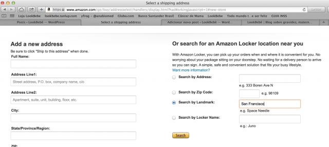 Escolha o Amazon locker por ZIP code, marco, cidade