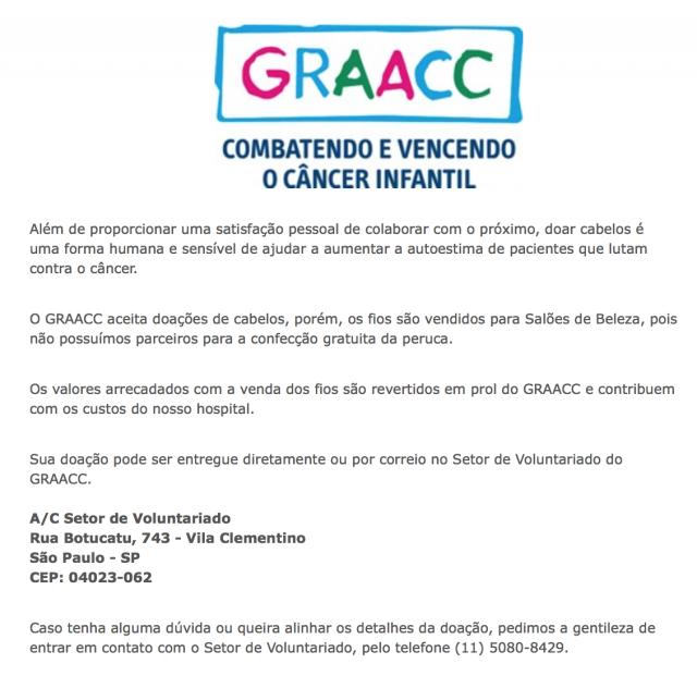 doação de cabelo crianças cancer Graacc
