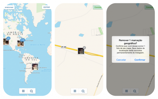 Como excluir as fotos do mapa de fotos do instagram