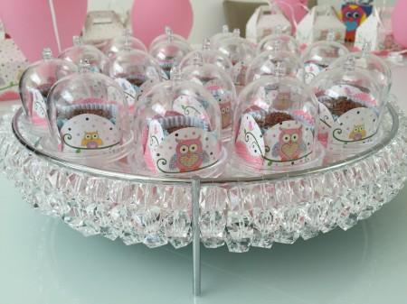 Reutilizando as bandejas na festa de coruja da Clara, com as mini-cúpulas de doces