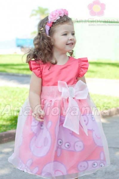 vestido festa Peppa pig aniversario infantil