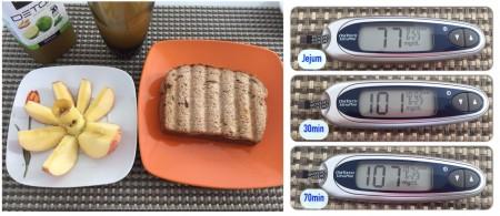 Suco sem adição de açúcar + Maçã + sanduíche de pão integral