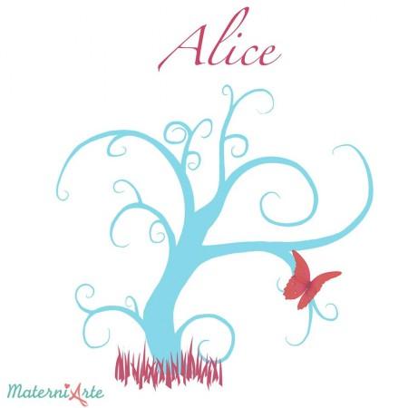 Arte feita pelo MaterniArte para o quadro nas cores do quarto da Alice