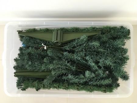 árvore natal desmontada guardar caixa plastica