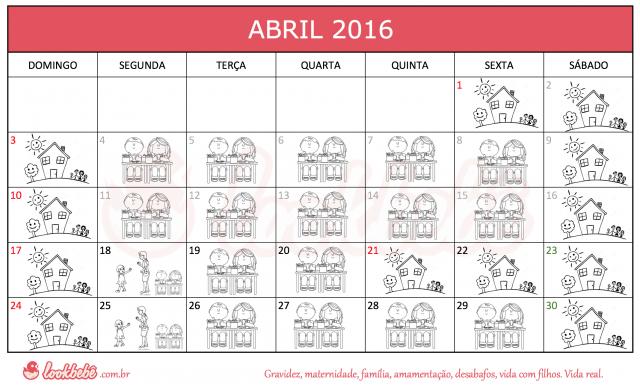 Calendário ilustrado feriados escolares abril 2016