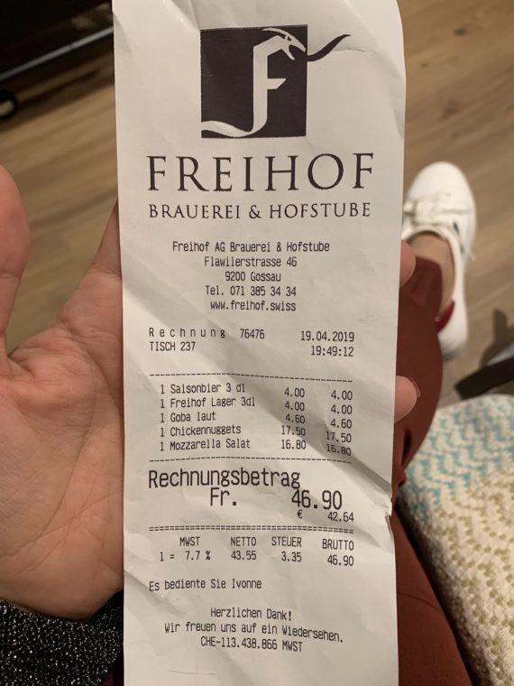 quanto custa comer na Suíça